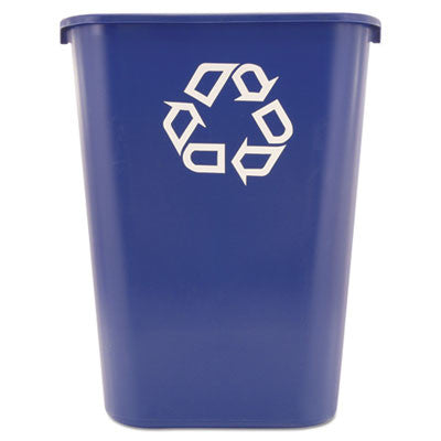 Deskside Recycle Container w/Symbol, Rectangular, Plastic, 41 1/4 qt, Blue