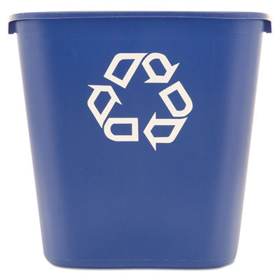 Medium Deskside Recycling Container, Rectangular, Plastic, 28 1/8qt, Blue