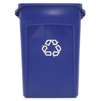 Slim Jim Recycling Container w/Venting Channels, Plastic, 23 gal, Blue