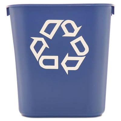 Small Deskside Recycling Container, Rectangular, Plastic, 13 5/8 qt, Blue