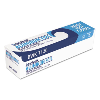"Heavy-Duty Aluminum Foil Roll, 12"" x 500 ft, 20 Micron Thickness, Silver"