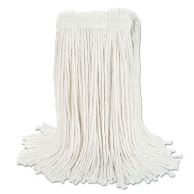 "Banded Rayon Cut-End Mop Heads, White, 24 oz, 1 1/4"" Headband"