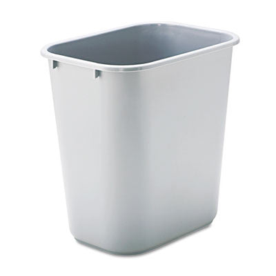 Deskside Plastic Wastebasket, Rectangular, 7 gal, Gray