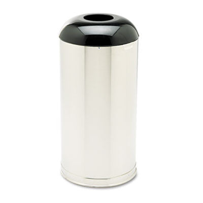 European Metallic Drop-In Dome Receptacle, Round, 15gal, Stainless Steel