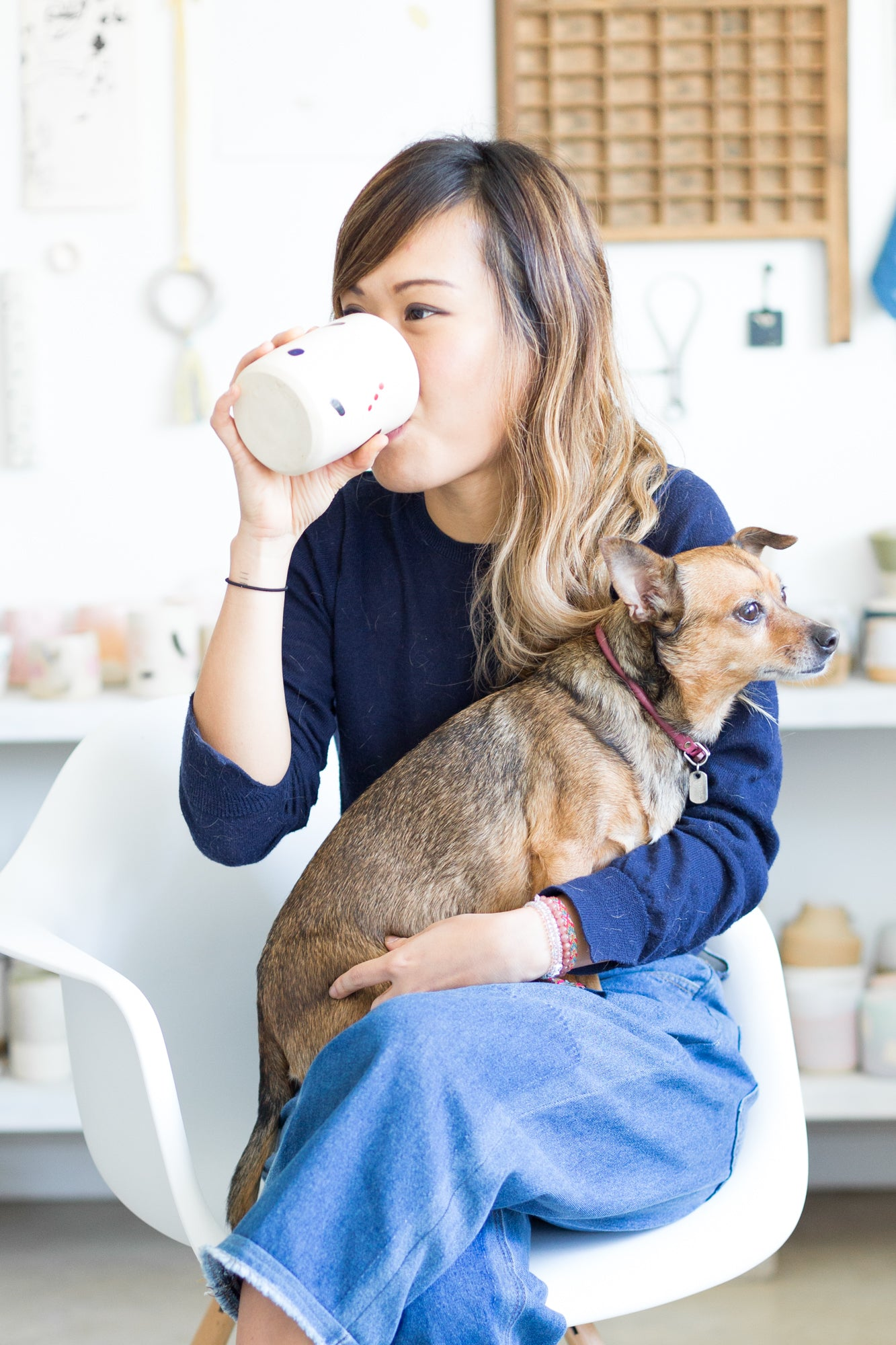 Carrie Lau drinking from O-M ceramic cup