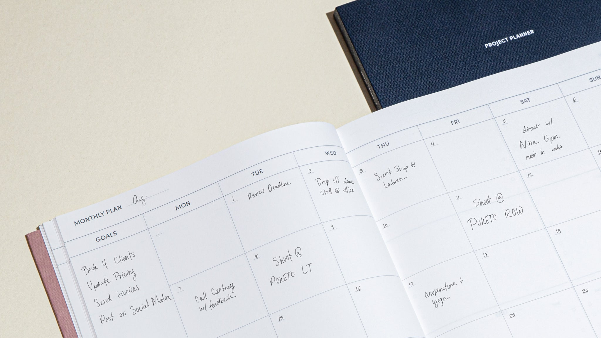 Project Planner Monthly Calendar
