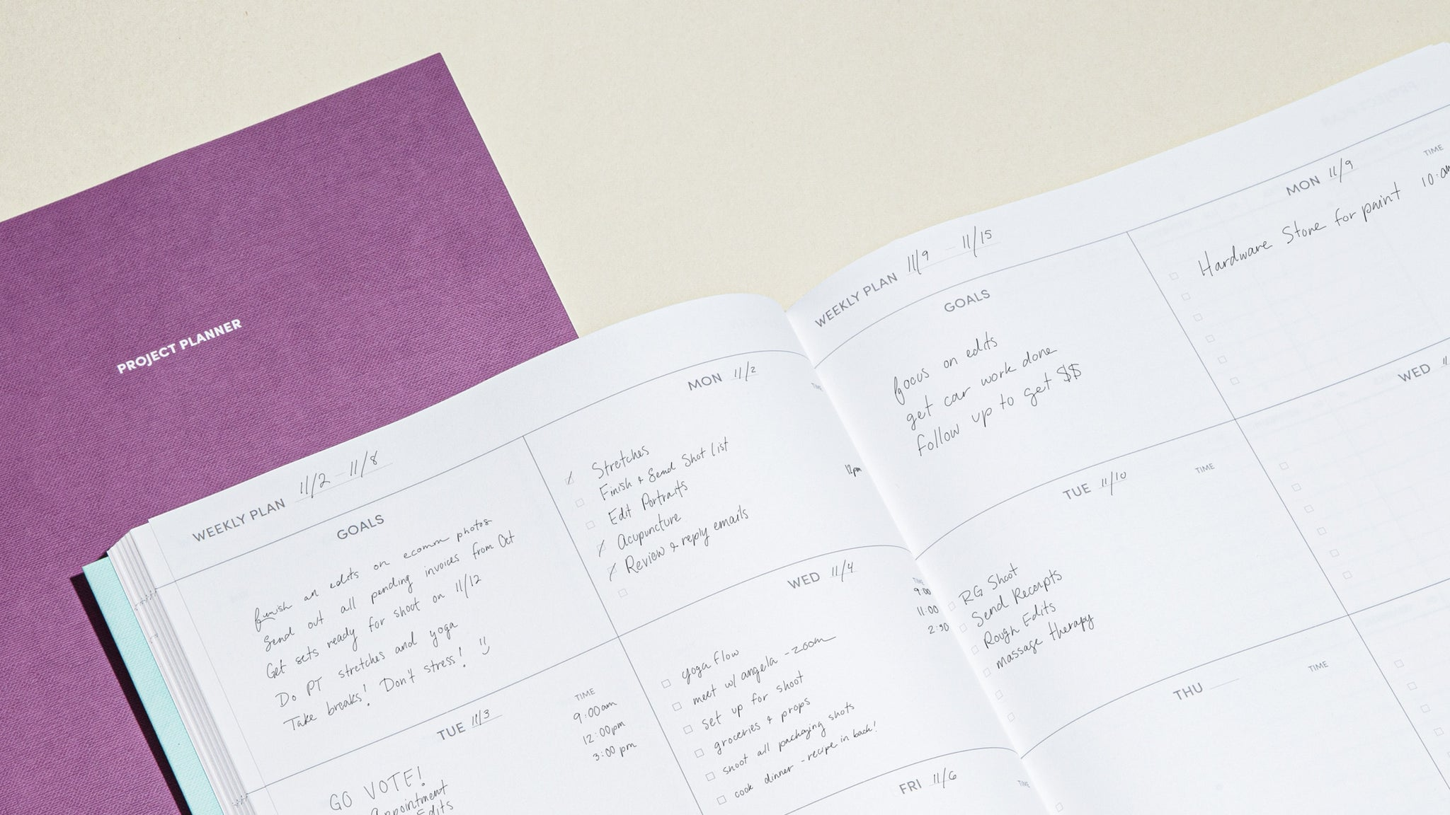 Project Planner Weekly Section