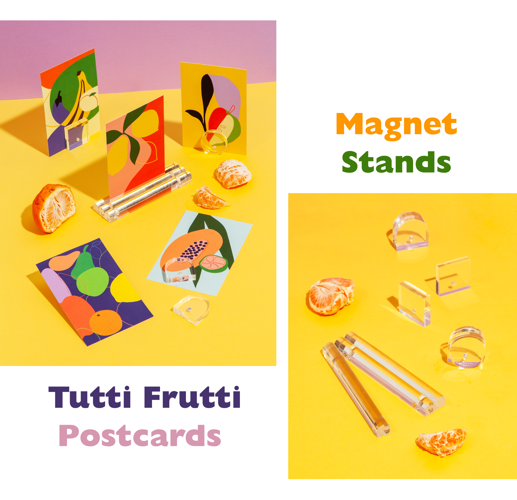 Fruit postcards and acrylic magnet stands