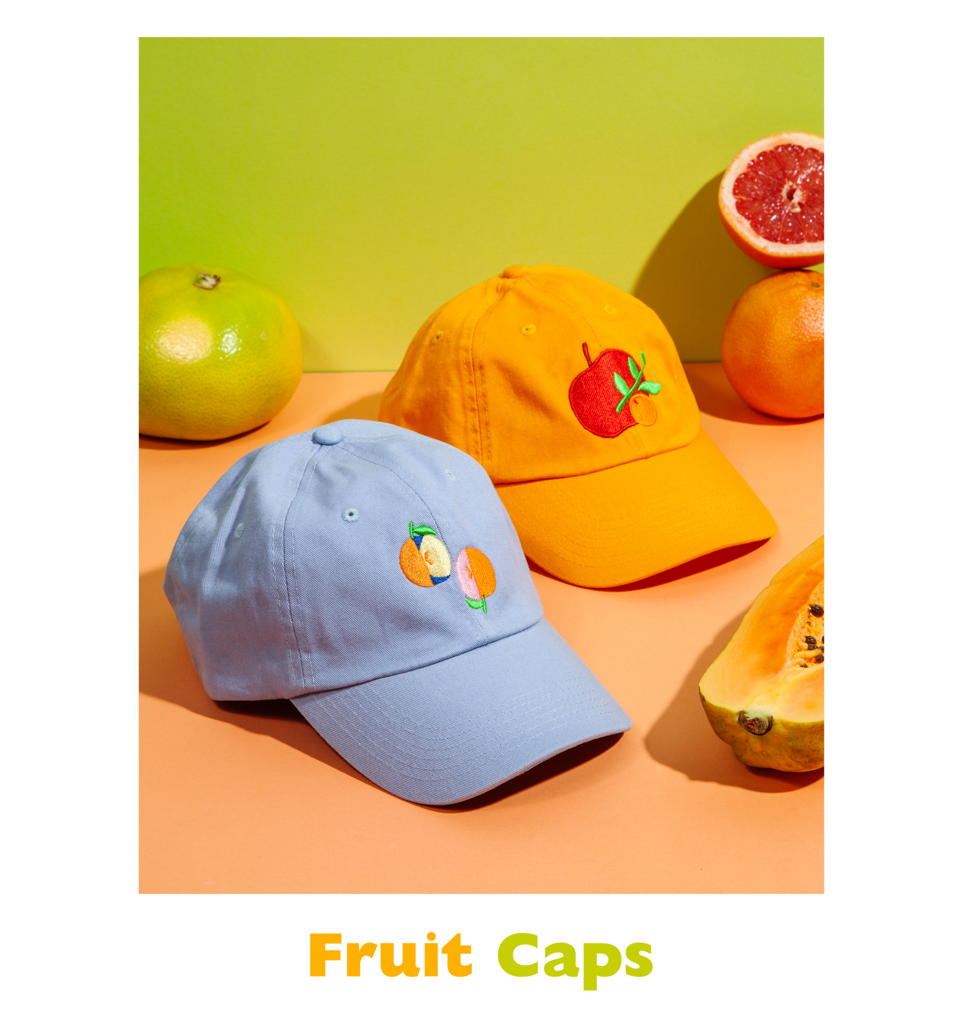 Fruit embroidered caps