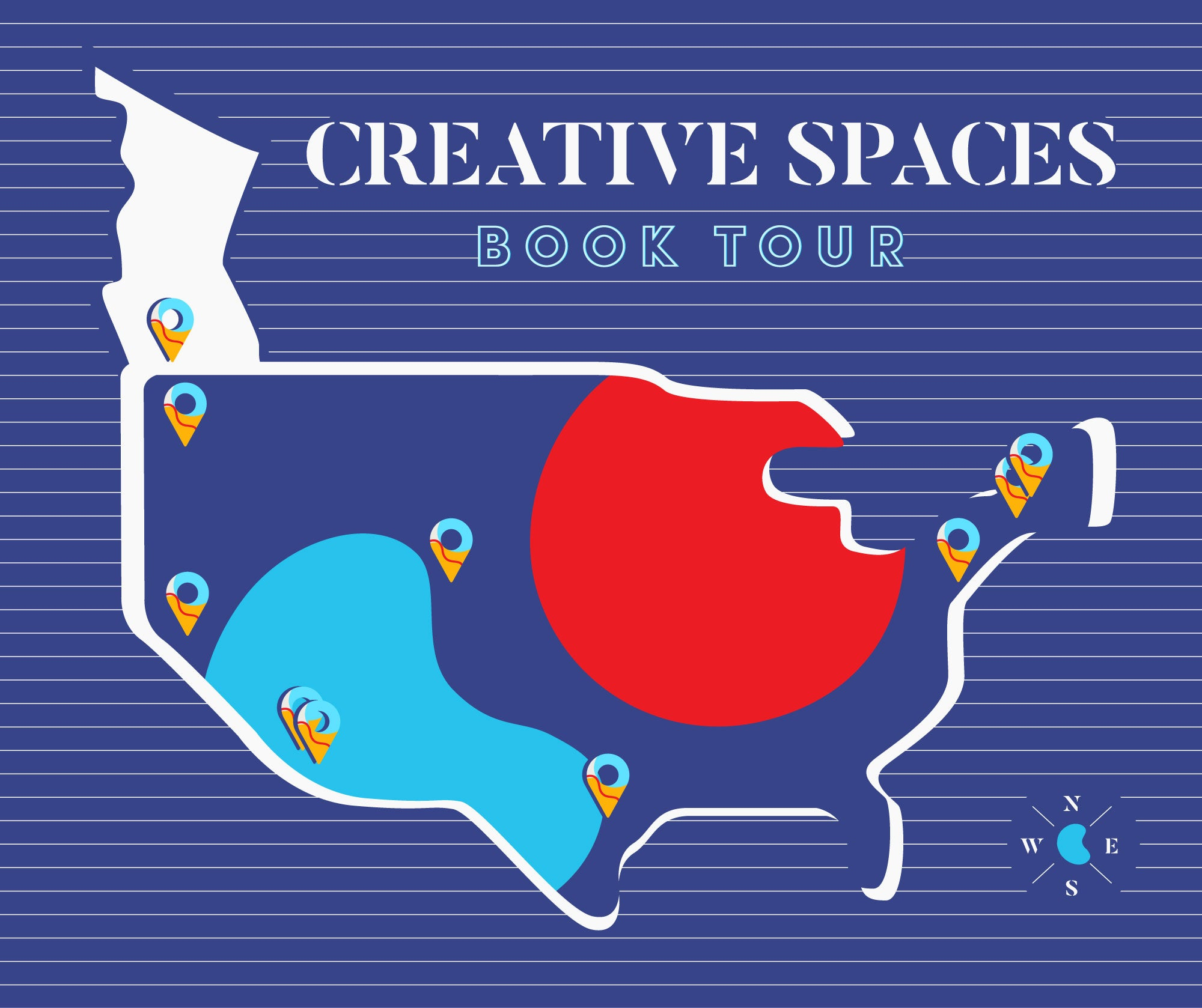 US Map for Creativity Space Book Tour