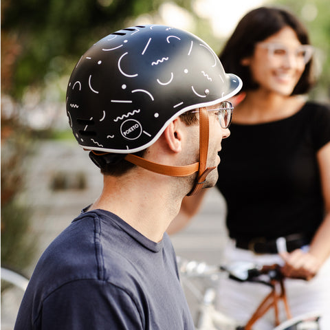 Poketo x Thousand Bike Helmet in Memphis Movement on Model