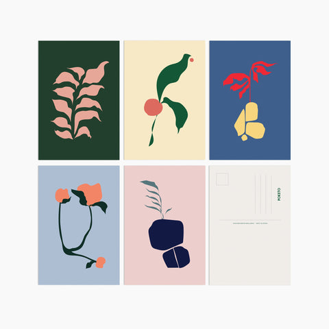 poketo abstract flora postcard pack flower modern