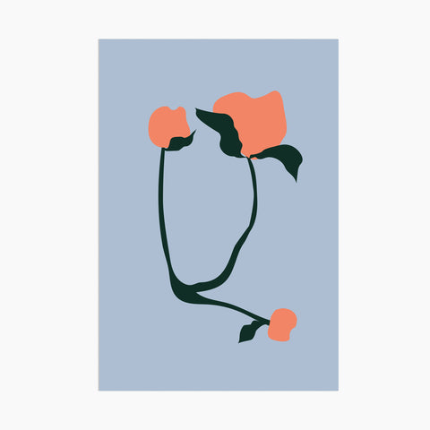 poketo abstract flora postcard orange flower modern