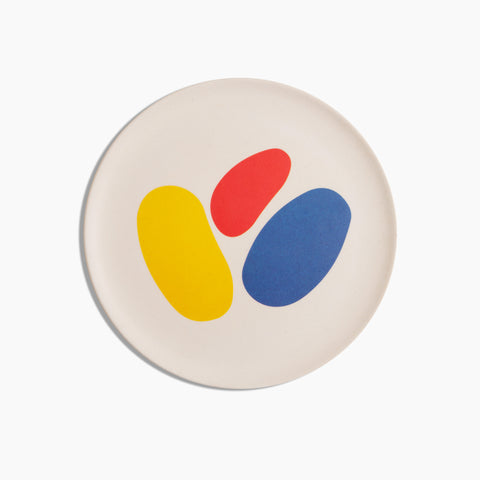 Bamboo Salad Plates in Abstract Shapes Primary Colors