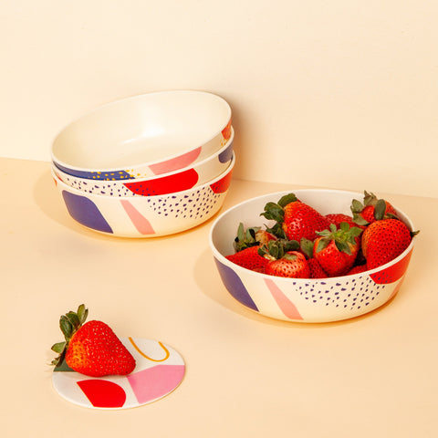 Bamboo Bowls Set in Abstract with Coaster and Strawberries