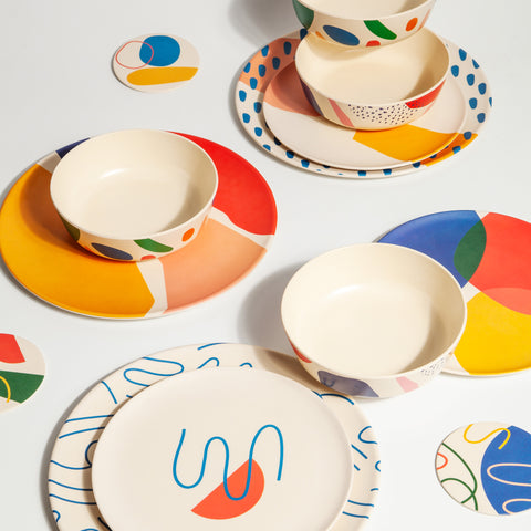 Bamboo Salad Plate Set in Blots Red Blue Yellow