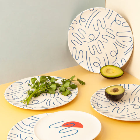 Bamboo Dinner Plates in Doodle