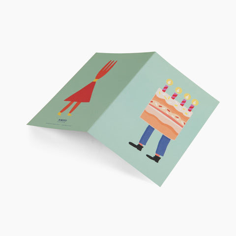 greeting card cake fork legs happy birthday