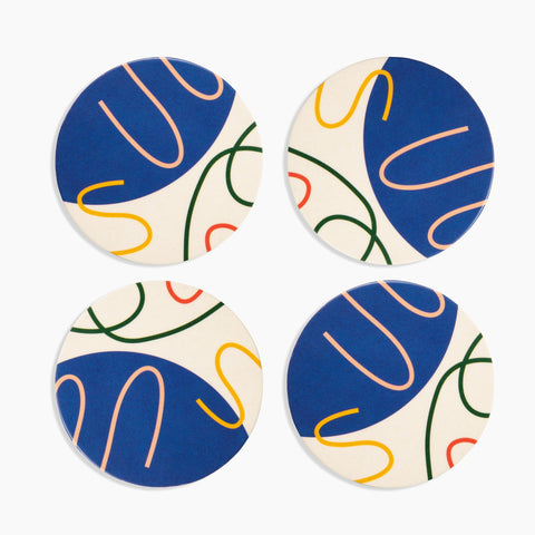 Bamboo Coasters in Blue Abstract Set