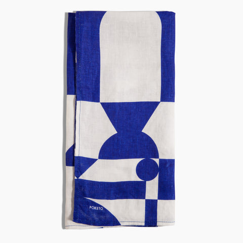 Linen Tea Towel in Blue White Shapes