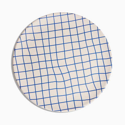 Bamboo Dinner Plates in Grid Blue