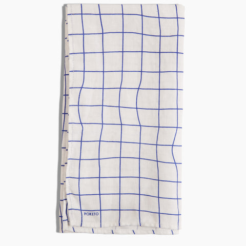 Linen Tea Towel in Blue White Grid