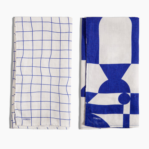 Linen Tea Towel in Blue White