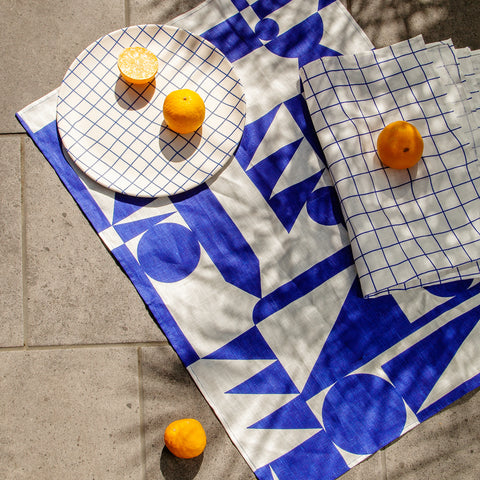 Poketo Home Linen Tea Towels in Blue Grid and Shapes