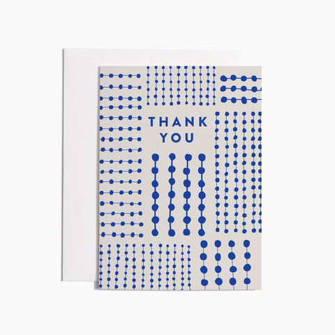blue patterned thank you greeting card