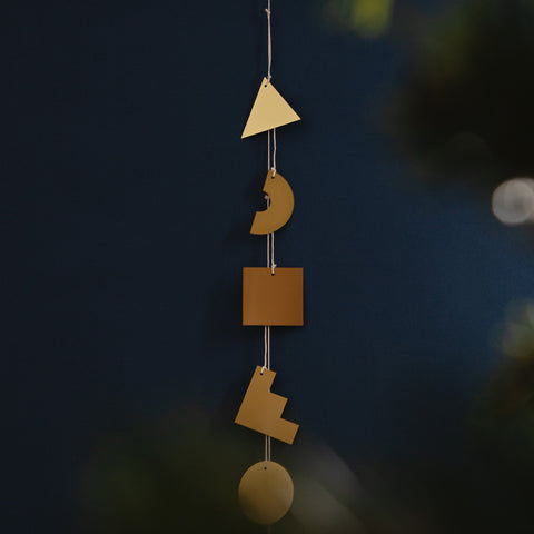 Brass Shapes Garland Hanging Vertical