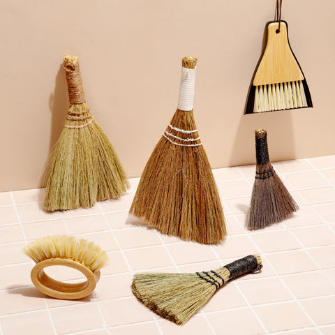 Straw Broom Set of 4