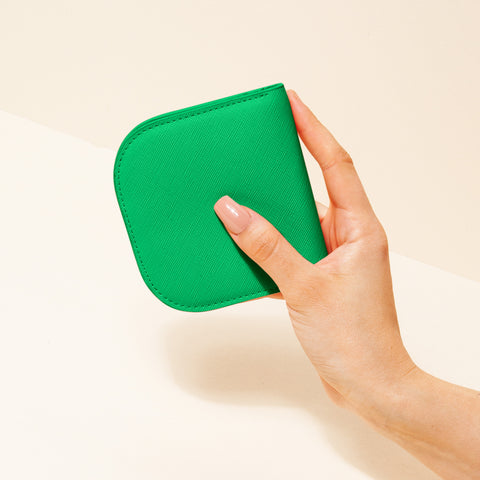 Dome Wallet in Emerald Green with Hand Model