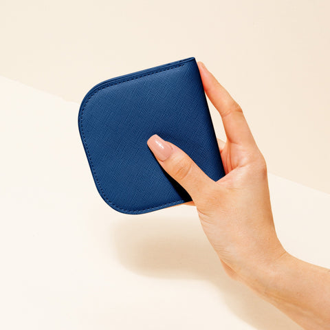 Dome Wallet in Blue with Hand Model