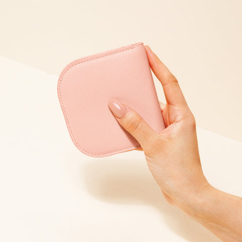 Dome Wallet in Pink with Hand Model