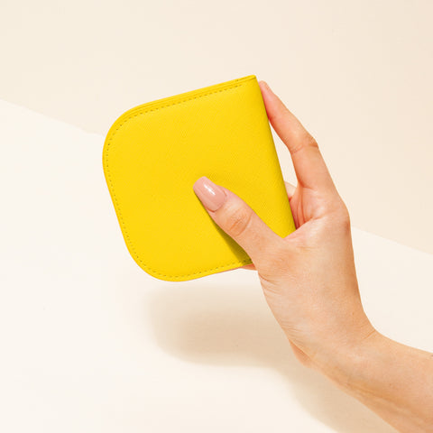 Dome Wallet in Yellow with Hand Model
