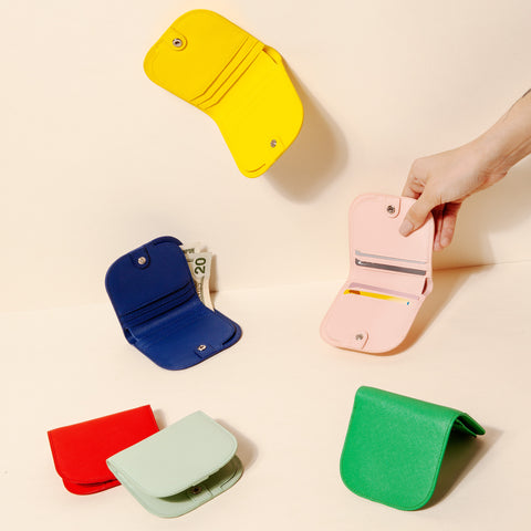Dome Wallet Collection Colors Yellow Mint Red Blue Green Pink With Hand Model