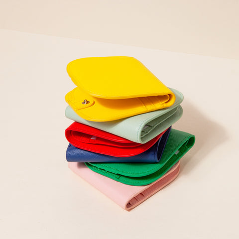 Dome Wallet Collection Colors Yellow Mint Red Blue Green Pink Stacked