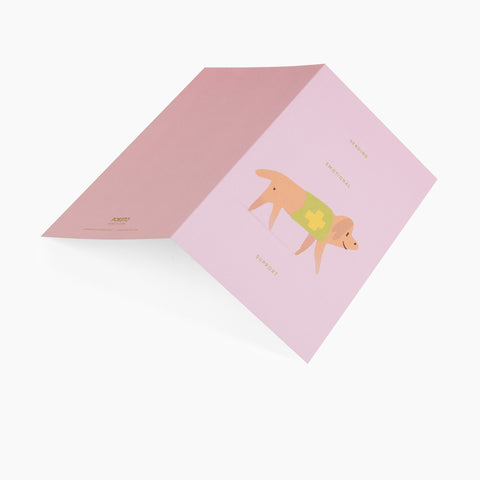 greeting card emotional support dog pink