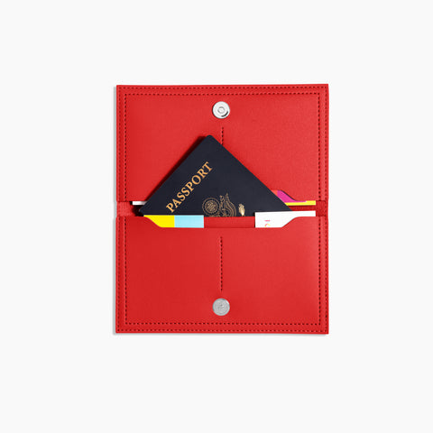 Minimalist Travel Wallet Inside Red