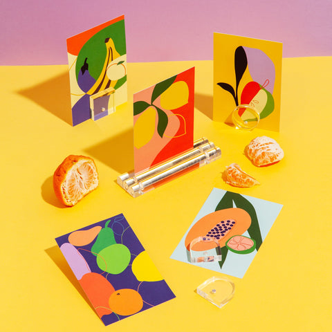 Tutti Frutti Postcards with magnet acrylic stands