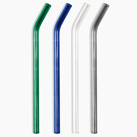 Glass Straws Eco Friendly Reusable Blue Green Grey