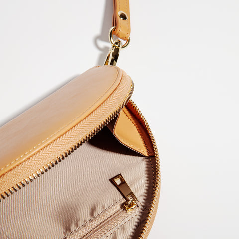 Half Moon Clutch in Tan Interior