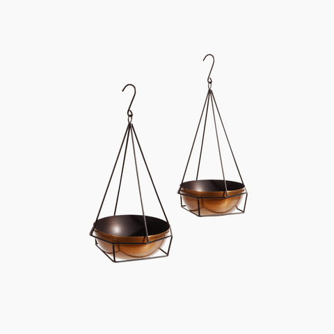Copper Bowl Hanging Planter with hook in large and medium size
