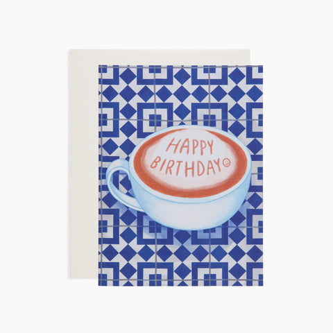Happy Birthday Coffee card with blue tile background