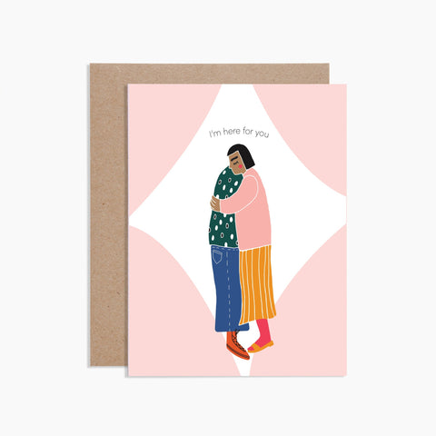 Here For You Card. Two people hugging.