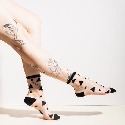 Sheer Socks in Black Triangles