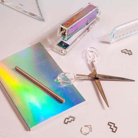 lucite stapler iridescent desk supplies