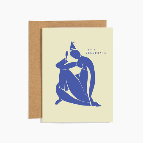Let's Celebrate Card Blue Silhouette Beige Background