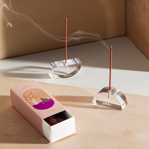 Lucite Incense Holder in Boat and Arc
