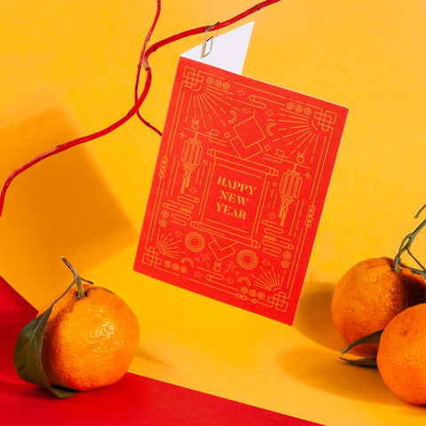 Lunar New Year Card Red Yellow Gold